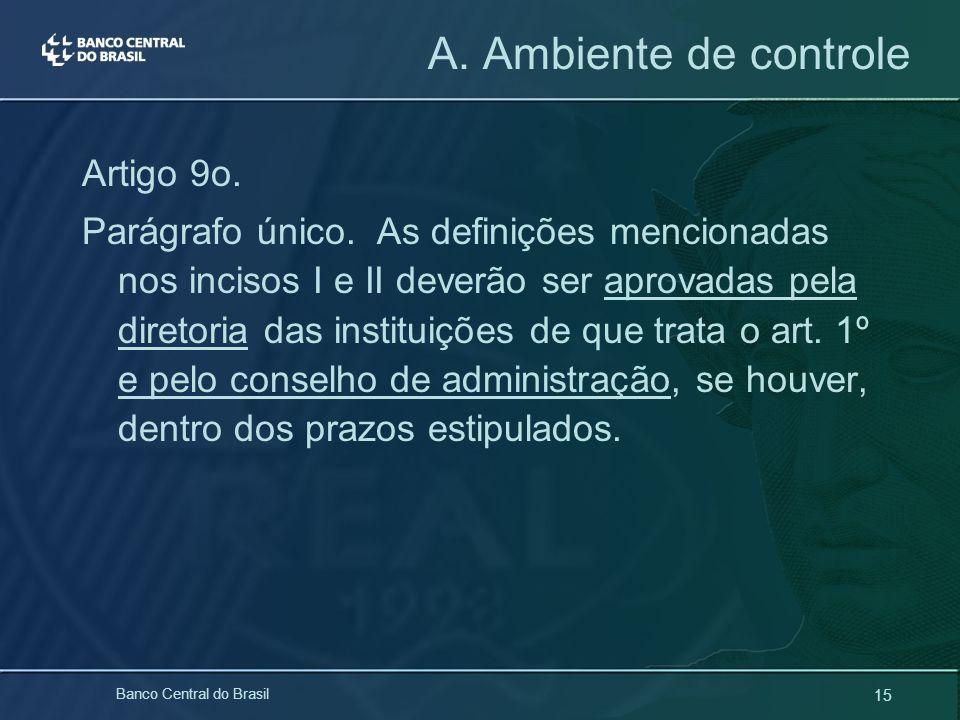 15 Banco Central do Brasil A. Ambiente de controle Artigo 9o. Parágrafo único. As definições mencionadas nos incisos I e II deverão ser aprovadas pela