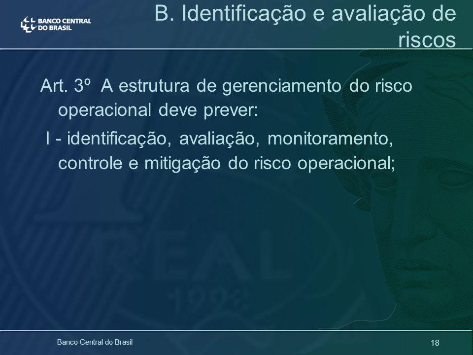 18 Banco Central do Brasil Art. 3º A estrutura de gerenciamento do risco operacional deve prever: I - identificação, avaliação, monitoramento, control