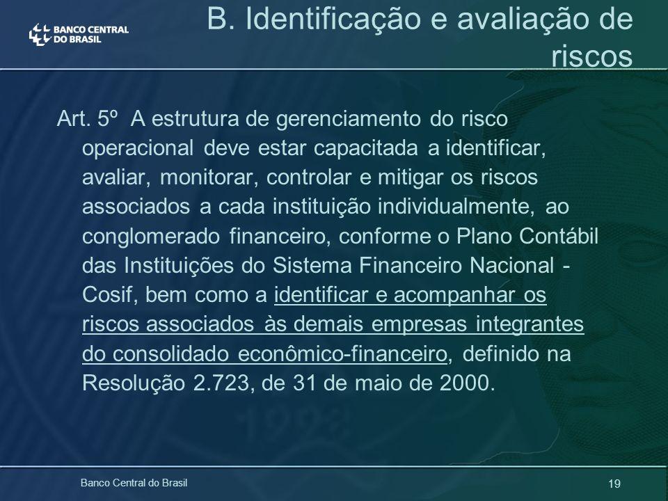 19 Banco Central do Brasil Art. 5º A estrutura de gerenciamento do risco operacional deve estar capacitada a identificar, avaliar, monitorar, controla