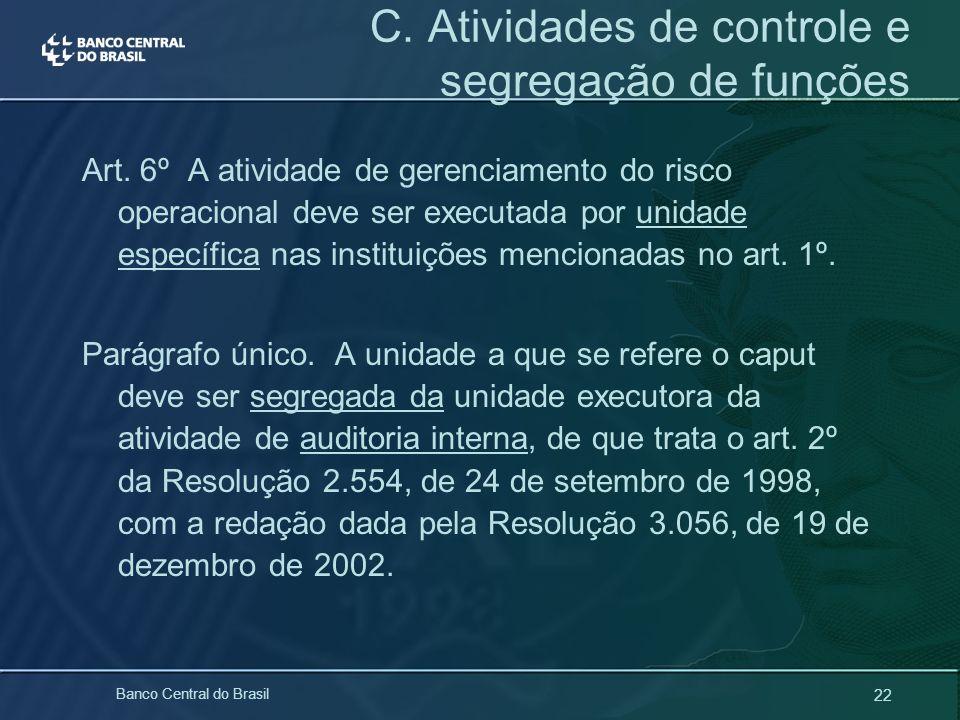 22 Banco Central do Brasil Art. 6º A atividade de gerenciamento do risco operacional deve ser executada por unidade específica nas instituições mencio