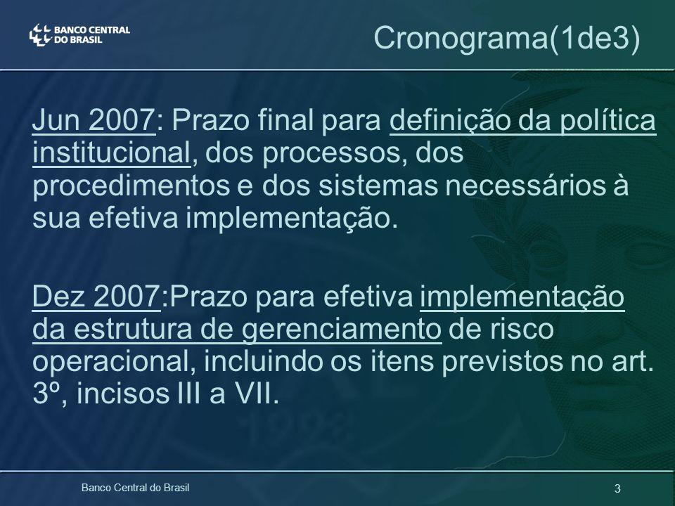 3 Banco Central do Brasil Cronograma(1de3) Jun 2007: Prazo final para definição da política institucional, dos processos, dos procedimentos e dos sist