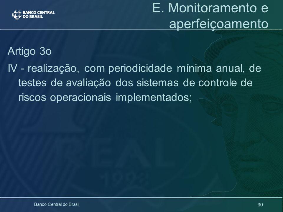 30 Banco Central do Brasil E. Monitoramento e aperfeiçoamento Artigo 3o IV - realização, com periodicidade mínima anual, de testes de avaliação dos si