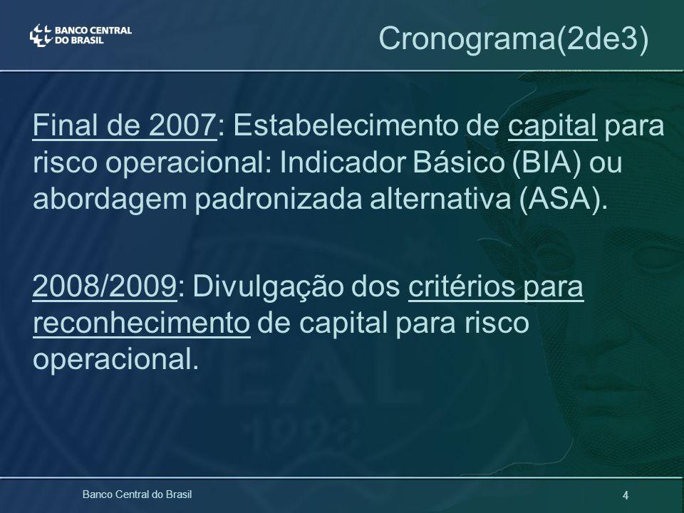 4 Banco Central do Brasil Cronograma(2de3) Final de 2007: Estabelecimento de capital para risco operacional: Indicador Básico (BIA) ou abordagem padro