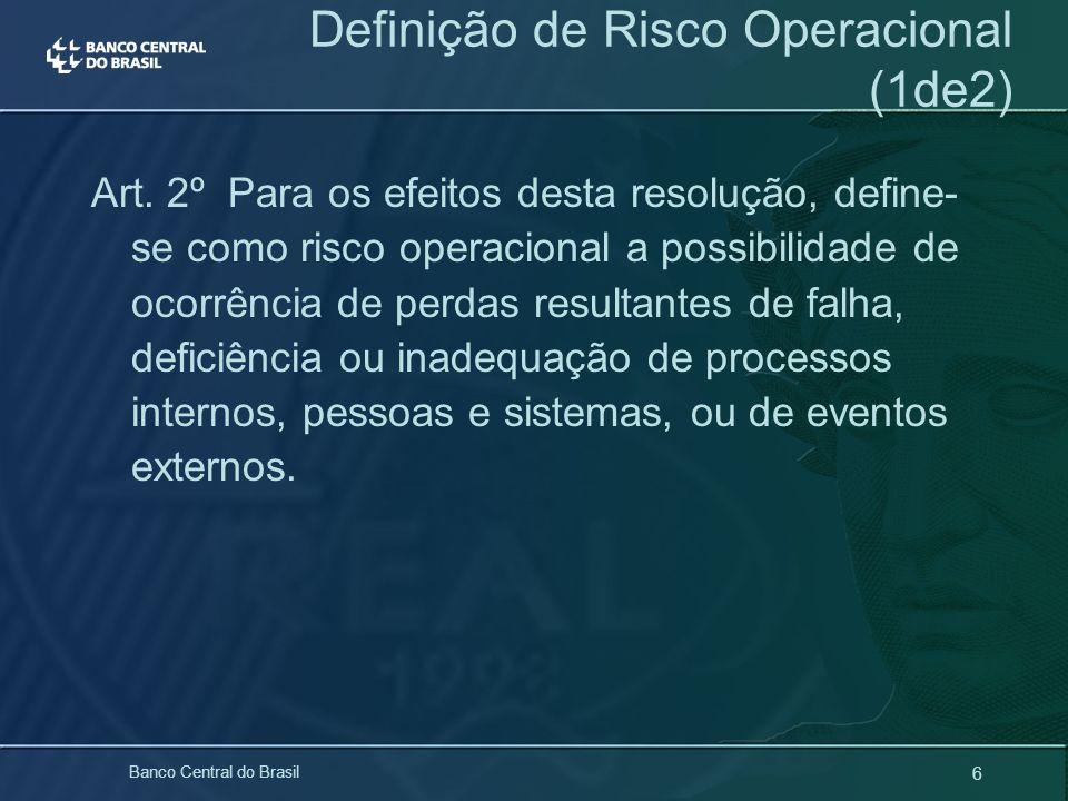 6 Banco Central do Brasil Art. 2º Para os efeitos desta resolução, define- se como risco operacional a possibilidade de ocorrência de perdas resultant