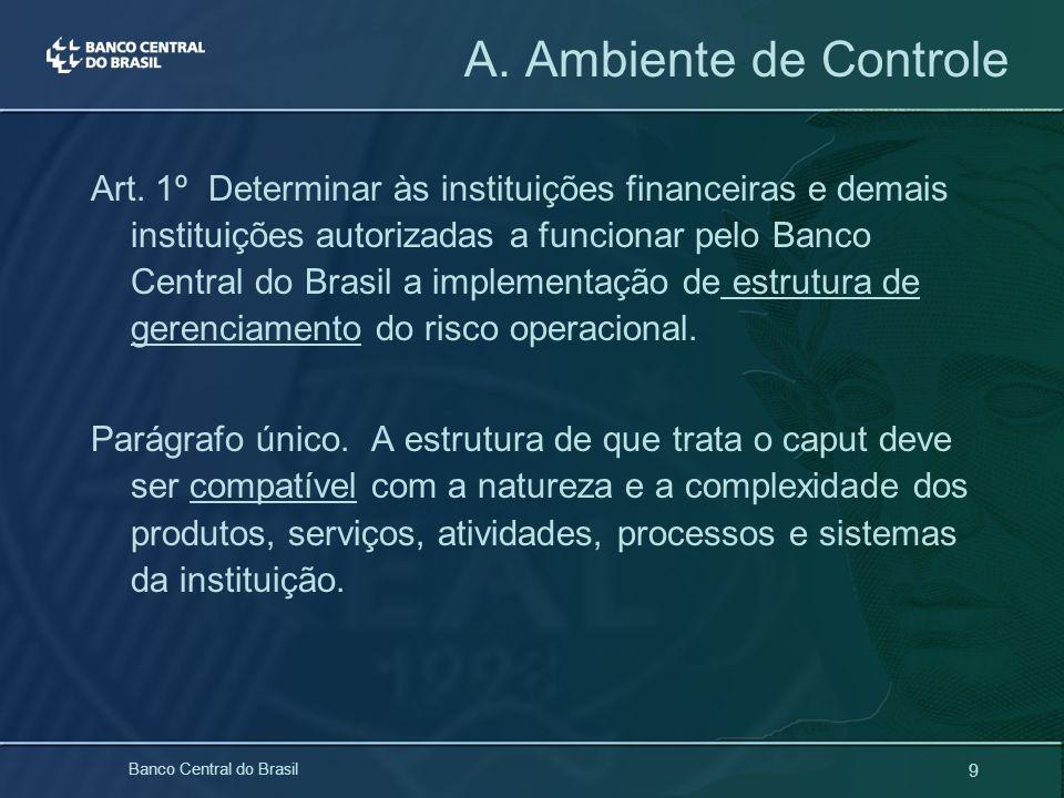 9 Banco Central do Brasil Art. 1º Determinar às instituições financeiras e demais instituições autorizadas a funcionar pelo Banco Central do Brasil a