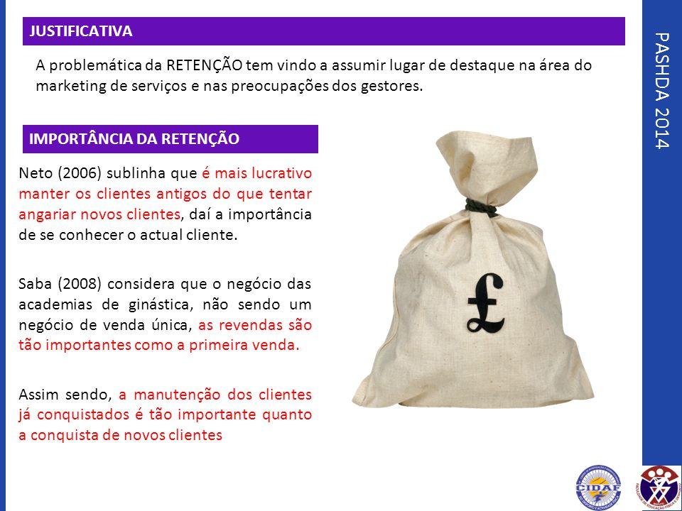 PASHDA 2014 JUSTIFICATIVA A problemática da RETENÇÃO tem vindo a assumir lugar de destaque na área do marketing de serviços e nas preocupações dos ges