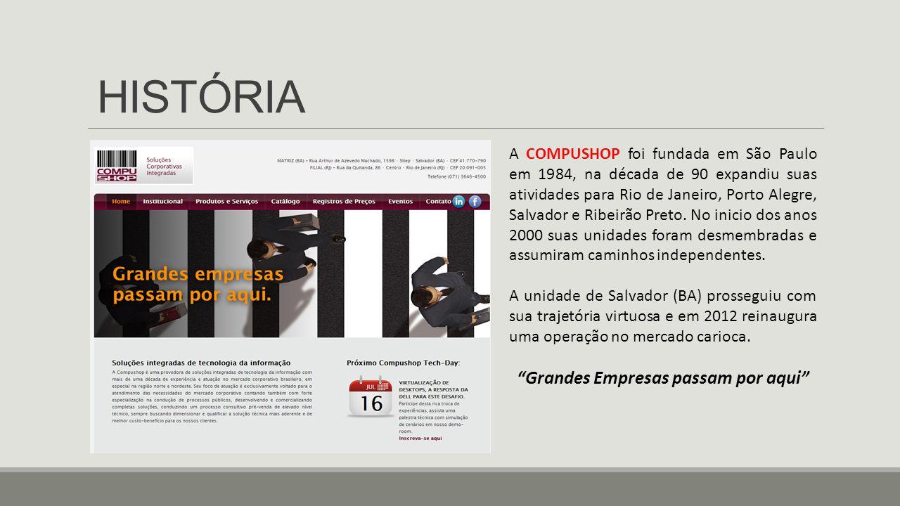 HISTÓRIA A COMPUSHOP foi fundada em São Paulo em 1984, na década de 90 expandiu suas atividades para Rio de Janeiro, Porto Alegre, Salvador e Ribeirão