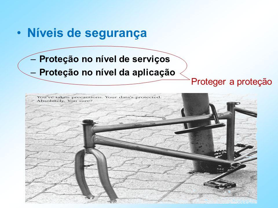 Níveis de segurança –Proteção no nível de serviços –Proteção no nível da aplicação Proteger a proteção