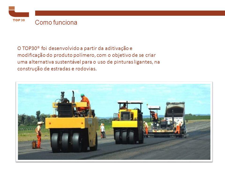 O TOP30® foi desenvolvido a partir da aditivação e modificação do produto polímero, com o objetivo de se criar uma alternativa sustentável para o uso de pinturas ligantes, na construção de estradas e rodovias.