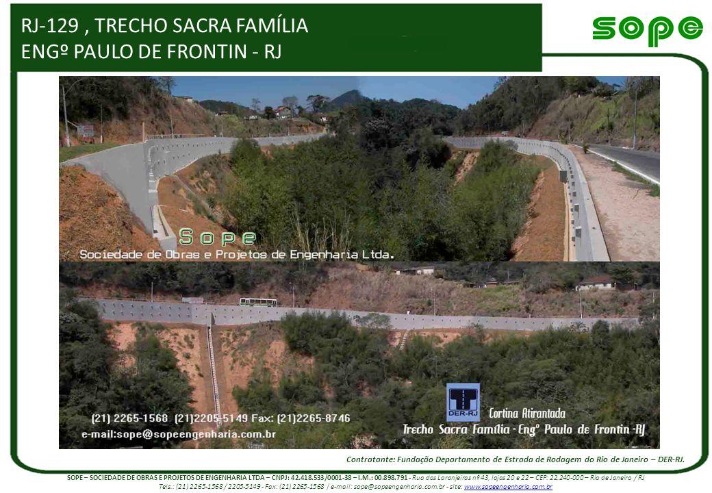 RJ-129, TRECHO SACRA FAMÍLIA ENGº PAULO DE FRONTIN - RJ Contratante: Fundação Departamento de Estrada de Rodagem do Rio de Janeiro – DER-RJ. SOPE – SO