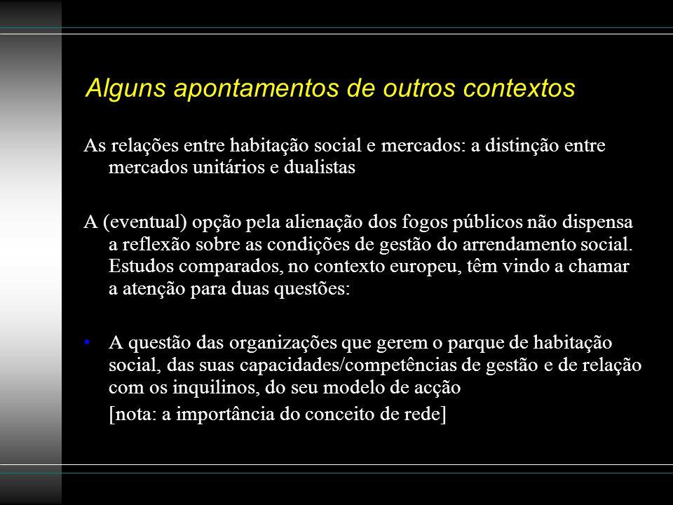 Alguns apontamentos de outros contextos As relações entre habitação social e mercados: a distinção entre mercados unitários e dualistas A (eventual) o