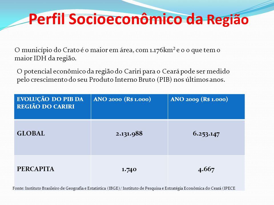 Perfil Socioeconômico da Região O município do Crato é o maior em área, com 1.176km² e o o que tem o maior IDH da região. O potencial econômico da reg
