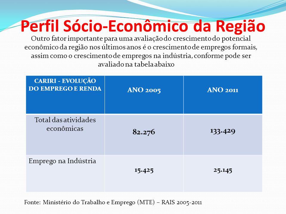 Perfil Sócio-Econômico da Região Outro fator importante para uma avaliação do crescimento do potencial econômico da região nos últimos anos é o cresci