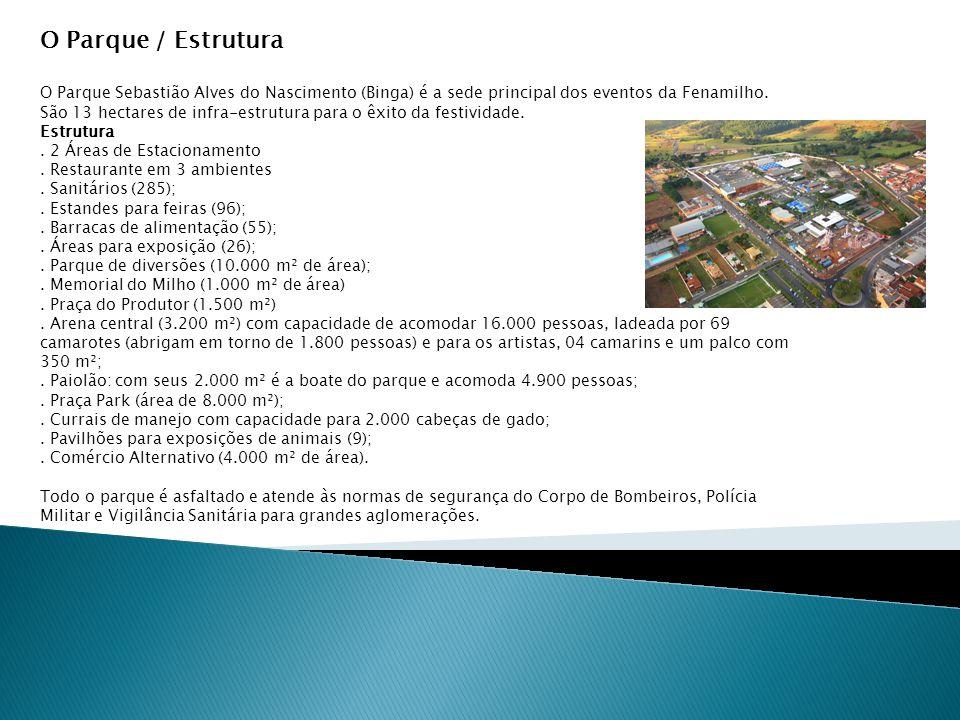 O Parque / Estrutura O Parque Sebastião Alves do Nascimento (Binga) é a sede principal dos eventos da Fenamilho.