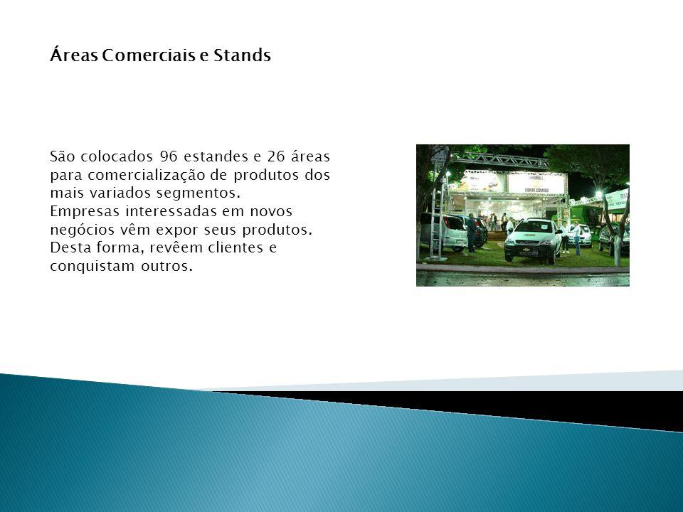 Áreas Comerciais e Stands São colocados 96 estandes e 26 áreas para comercialização de produtos dos mais variados segmentos.