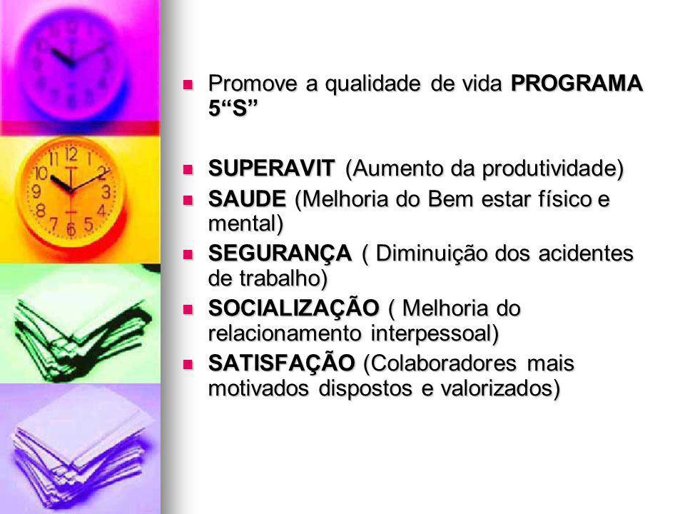 Promove a qualidade de vida PROGRAMA 5S Promove a qualidade de vida PROGRAMA 5S SUPERAVIT (Aumento da produtividade) SUPERAVIT (Aumento da produtivida