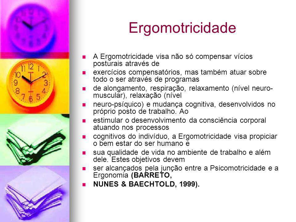 Ergomotricidade A Ergomotricidade visa não só compensar vícios posturais através de exercícios compensatórios, mas também atuar sobre todo o ser atrav