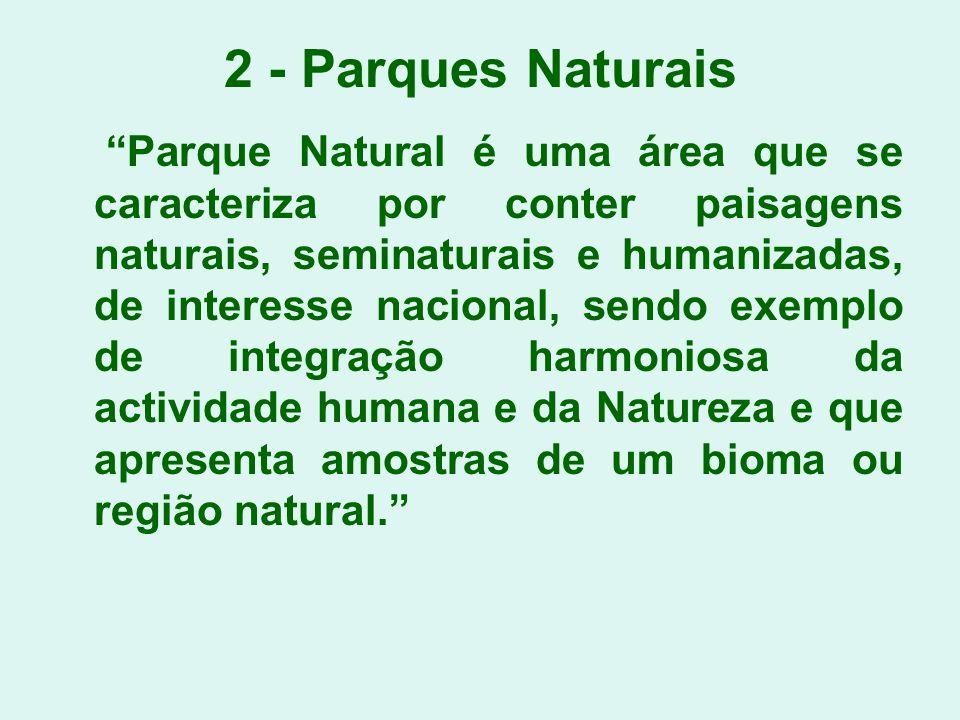 2 - Parques Naturais Parque Natural é uma área que se caracteriza por conter paisagens naturais, seminaturais e humanizadas, de interesse nacional, se