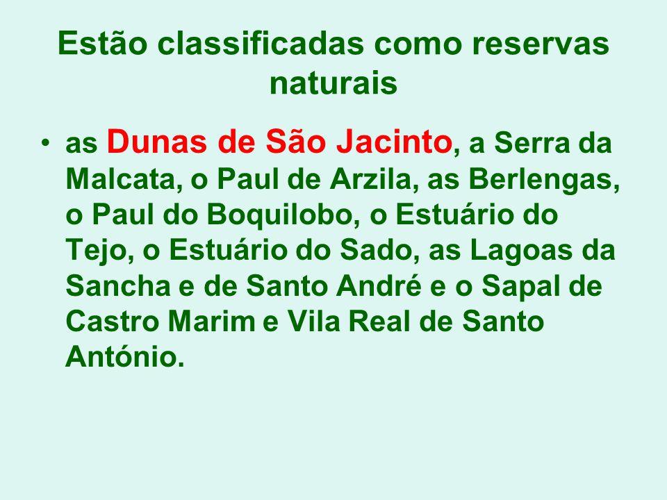 Estão classificadas como reservas naturais as Dunas de São Jacinto, a Serra da Malcata, o Paul de Arzila, as Berlengas, o Paul do Boquilobo, o Estuári