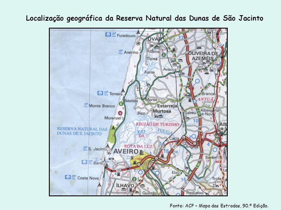 Localização geográfica da Reserva Natural das Dunas de São Jacinto Fonte: ACP – Mapa das Estradas, 90.ª Edição.