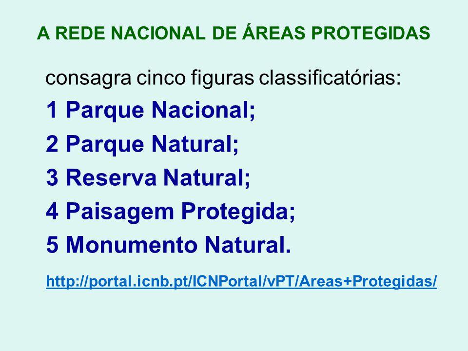 A REDE NACIONAL DE ÁREAS PROTEGIDAS consagra cinco figuras classificatórias: 1 Parque Nacional; 2 Parque Natural; 3 Reserva Natural; 4 Paisagem Proteg