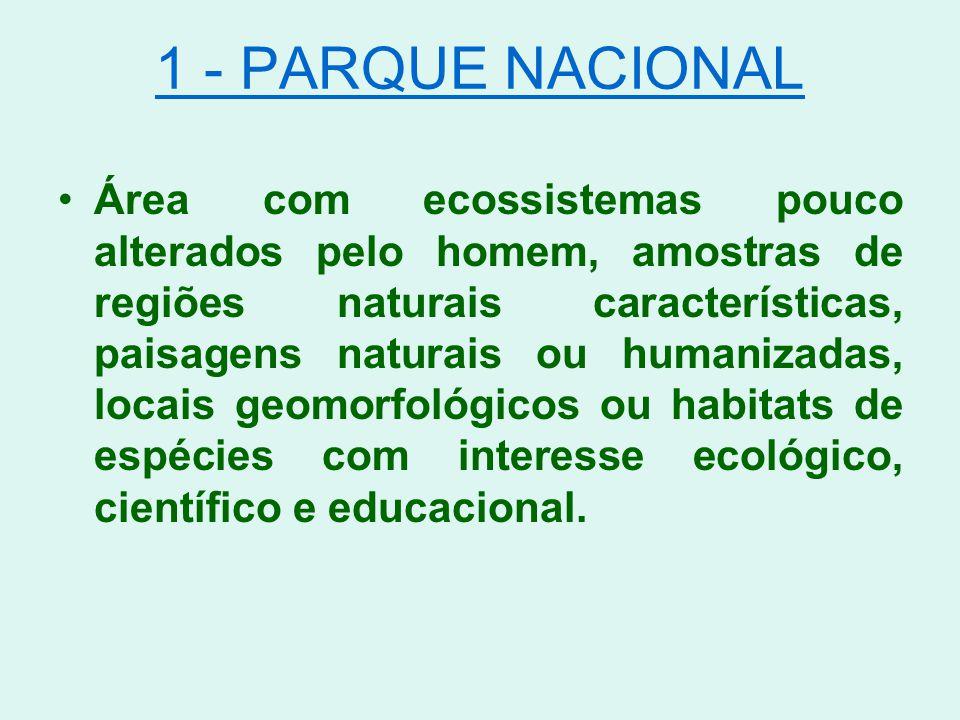 1 - PARQUE NACIONAL Área com ecossistemas pouco alterados pelo homem, amostras de regiões naturais características, paisagens naturais ou humanizadas,