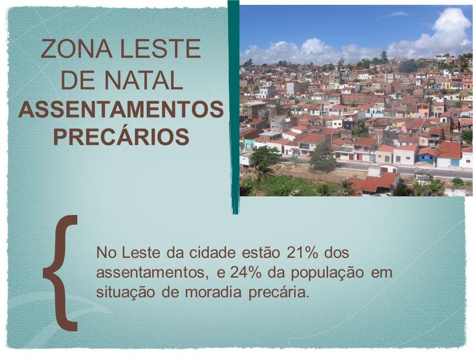 ZONA LESTE DE NATAL ASSENTAMENTOS PRECÁRIOS No Leste da cidade estão 21% dos assentamentos, e 24% da população em situação de moradia precária.