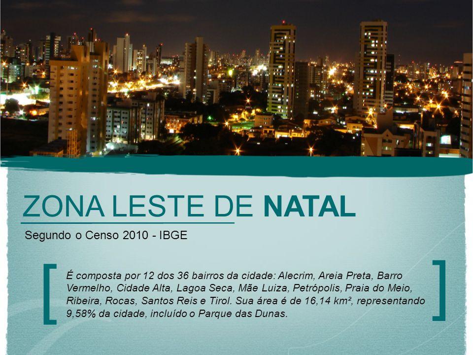 ZONA LESTE DE NATAL [ ] Segundo o Censo 2010 - IBGE É composta por 12 dos 36 bairros da cidade: Alecrim, Areia Preta, Barro Vermelho, Cidade Alta, Lag