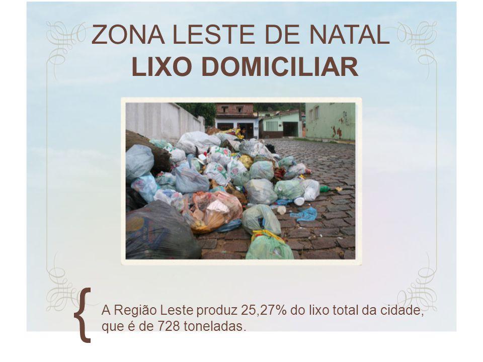 ZONA LESTE DE NATAL LIXO DOMICILIAR A Região Leste produz 25,27% do lixo total da cidade, que é de 728 toneladas.