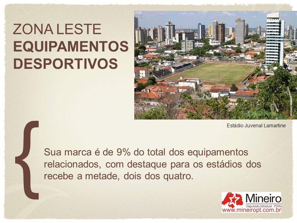 ZONA LESTE EQUIPAMENTOS DESPORTIVOS Sua marca é de 9% do total dos equipamentos relacionados, com destaque para os estádios dos recebe a metade, dois
