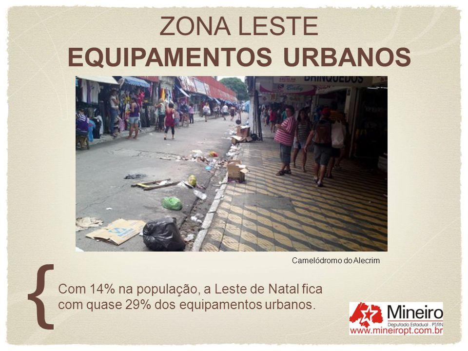 ZONA LESTE EQUIPAMENTOS URBANOS Com 14% na população, a Leste de Natal fica com quase 29% dos equipamentos urbanos. Camelódromo do Alecrim