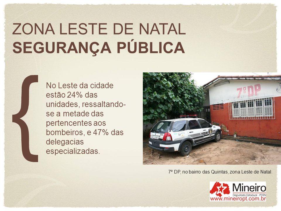 ZONA LESTE DE NATAL SEGURANÇA PÚBLICA No Leste da cidade estão 24% das unidades, ressaltando- se a metade das pertencentes aos bombeiros, e 47% das de