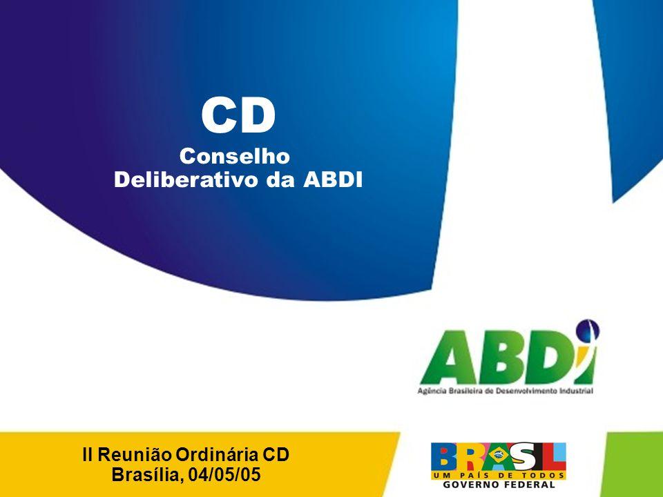 PLANO DE DESENVOLVIMENTO INDUSTRIAL, TECNOLÓGICO E DE COMÉRCIO EXTERIOR HORIZONTE 2008 MODELO DE ATUAÇÃO DA ABDI PRESIDENTE DIRETORIA DE INOVAÇÃO DIRETORIA DE DESENVOLVIMENTO INDUSTRIAL AGENDA DA INOVAÇÃO AGENDA DA MODERNIZAÇÃO CAMPO DE IMPLEMENTAÇÃO DA AGENDA ESTRATÉGICA DA ABDI AUMENTAR A CAPACIDADE INOVADORA DAS EMPRESAS FORTALECER E EXPANDIR A BASE INDUSTRIAL BRASILEIRA Restrições ao Desenvolvimento Industrial, Tecnológico e de Comércio Exterior GERÊNCIA GERAL ENFOQUE NAS OPÇÕES ESTRATÉGICAS E ATIVIDADES PORTADORAS DE FUTURO ASSESSORIA DE ARTICULAÇÃO INSTITUCIONAL AGENDA DAS RESTRIÇÕES