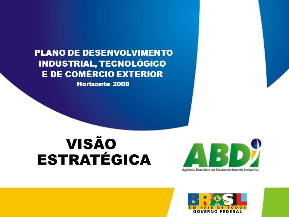 PLANO DE DESENVOLVIMENTO INDUSTRIAL, TECNOLÓGICO E DE COMÉRCIO EXTERIOR HORIZONTE 2008 MACRO PROGRAMA 3 ESTÍMULO À INSERÇÃO INTERNACIONAL ATIVA DAS EMPRESAS BRASILEIRAS Objetivos: apoiar os programas de exportação e o aumento da oferta exportável; incentivar o aumento do valor agregado das exportações brasileiras; apoiar a difusão de produtos brasileiros e da marca Brasil no exterior; apoiar a melhoria da logística brasileira, incluindo centros de distribuição no exterior; estimular a difusão de informações relativas ao comércio exterior; incentivar a internacionalização de empresas e à criação de multinacionais brasileiras.