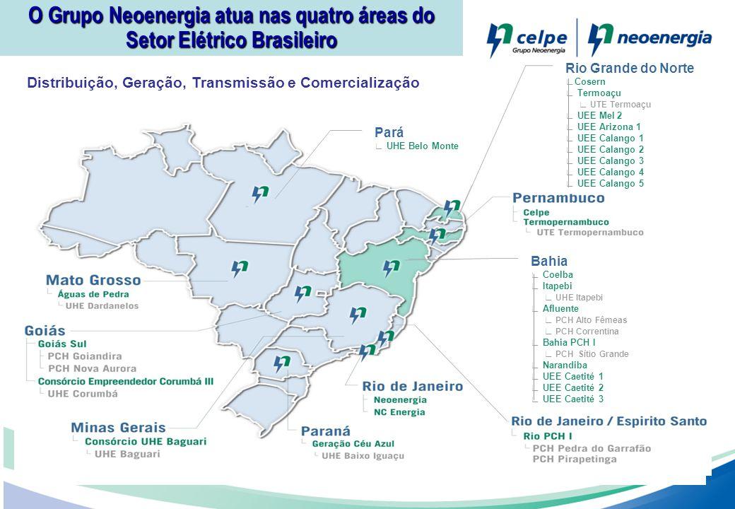 Distribuição, Geração, Transmissão e Comercialização O Grupo Neoenergia atua nas quatro áreas do Setor Elétrico Brasileiro Pará UHE Belo Monte Rio Gra