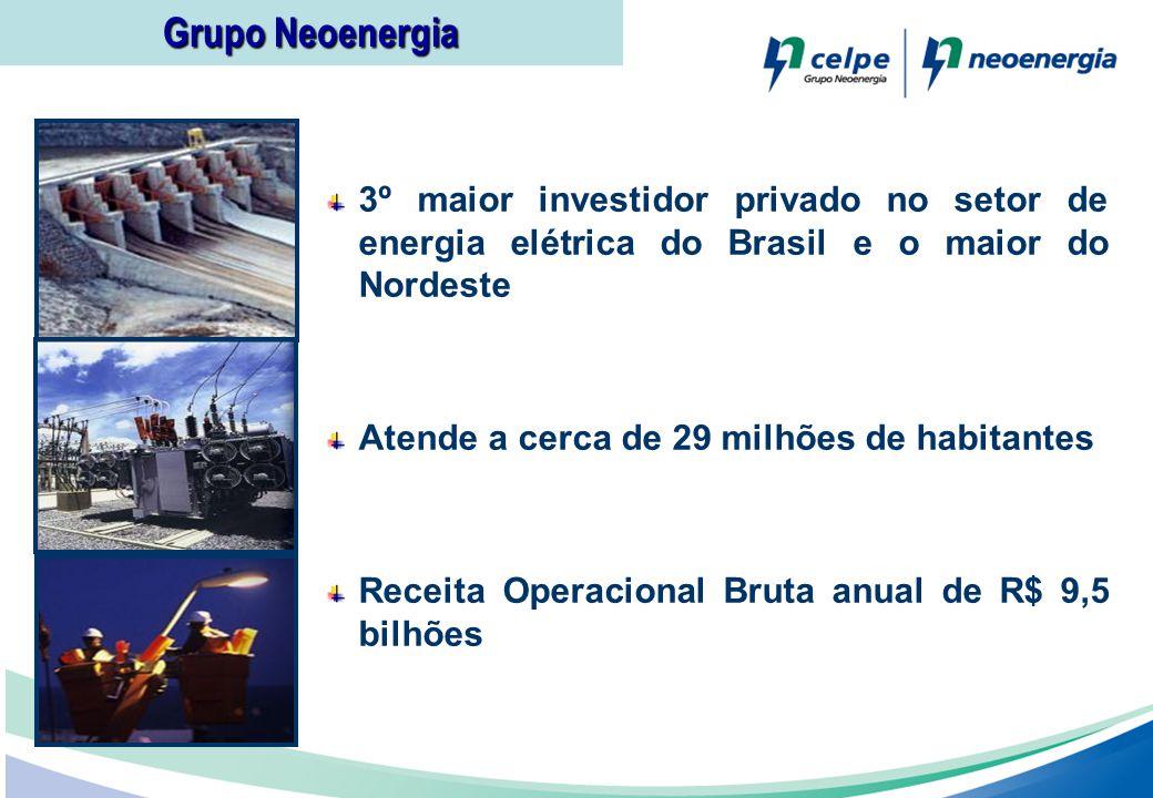 3º maior investidor privado no setor de energia elétrica do Brasil e o maior do Nordeste Atende a cerca de 29 milhões de habitantes Receita Operaciona