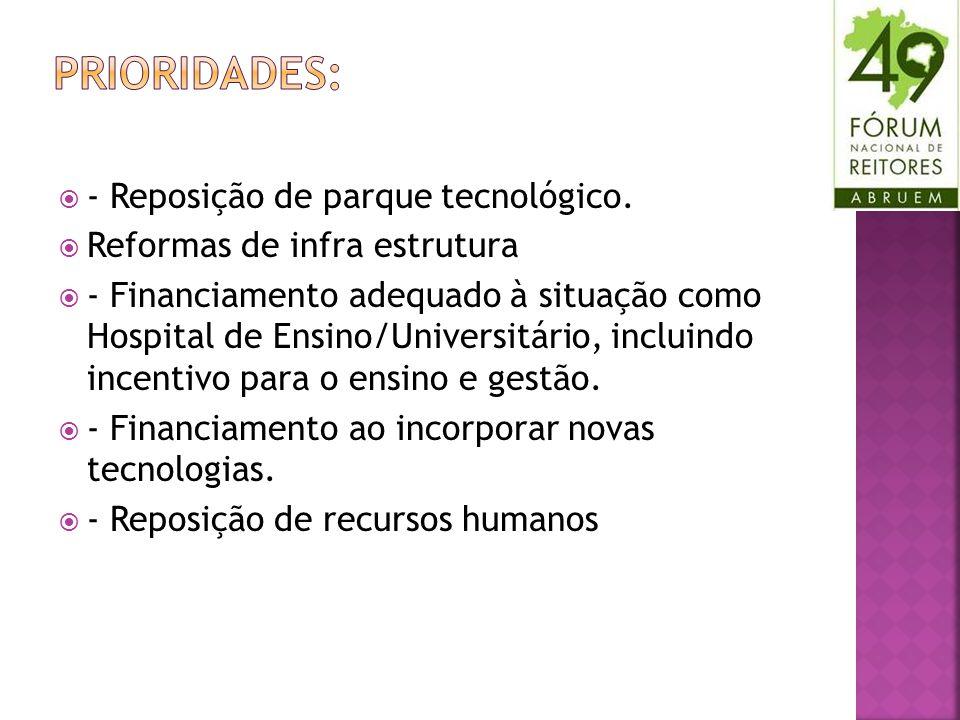 - Reposição de parque tecnológico. Reformas de infra estrutura - Financiamento adequado à situação como Hospital de Ensino/Universitário, incluindo in