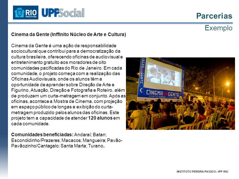 INSTITUTO PEREIRA PASSOS – IPP RIO Parcerias Exemplo Cinema da Gente (Inffinito Núcleo de Arte e Cultura) Cinema da Gente é uma ação de responsabilida