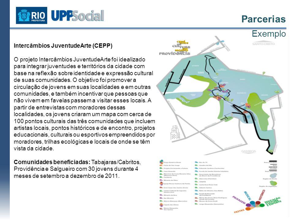 Intercâmbios JuventudeArte (CEPP) O projeto Intercâmbios JuventudeArte foi idealizado para integrar juventudes e territórios da cidade com base na ref