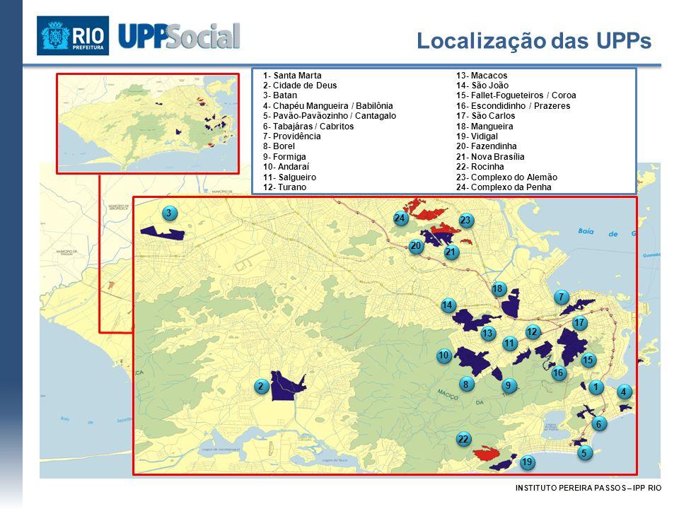 Territórios e Demografia UPPs / Territórios Ocupados Número de Comunidades População (1) Domicílio Habitantes por Domicílio Área (m²) (2) Densidade Demográfica (hab/ha) (3) 19 + 2* UPPs101262.19883.5663,148.680.876302,0 Alemão**, Penha e Rocinha 17138.13444.0993,132.708.119510,1 Total118400.332127.6653,1411.388.993351,5 Cidade Número de Comunidades População (1)Domicílio Habitantes por Domicílio Área (m²) (2) Densidade Demográfica (hab/ha) (3) 599 Favelas9541.160.715381.5233,0438.418.168302,1 Comunidades Urbanizadas 87283.05890.7083,128.011.406353,3 Rio de Janeiro-6.320.4462.146.3402,94570.917.463110,7 Fonte: (1) Instituto Pereira Passos e IBGE, Censo Demográfico (2010) (2) A área utilizada para o cálculo da densidade demográfica se refere a área urbanizada.
