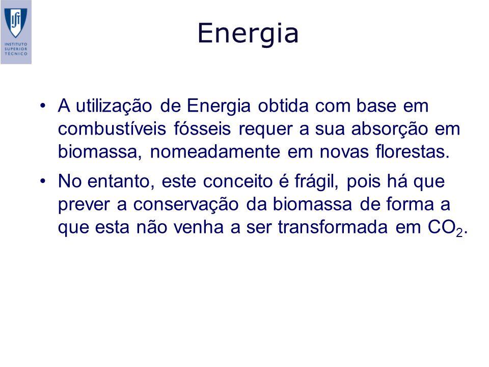Energia A utilização de Energia obtida com base em combustíveis fósseis requer a sua absorção em biomassa, nomeadamente em novas florestas. No entanto