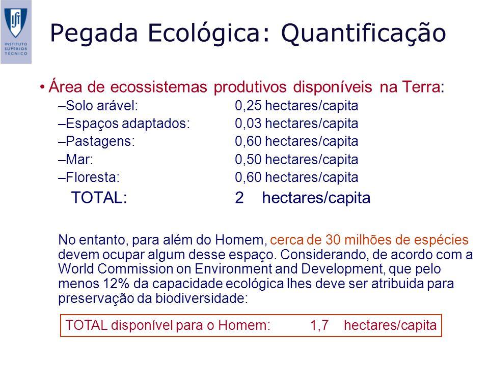 Pegada Ecológica: Quantificação Área de ecossistemas produtivos disponíveis na Terra: –Solo arável: 0,25 hectares/capita –Espaços adaptados: 0,03 hectares/capita –Pastagens: 0,60 hectares/capita –Mar: 0,50 hectares/capita –Floresta: 0,60 hectares/capita TOTAL:2 hectares/capita No entanto, para além do Homem, cerca de 30 milhões de espécies devem ocupar algum desse espaço.