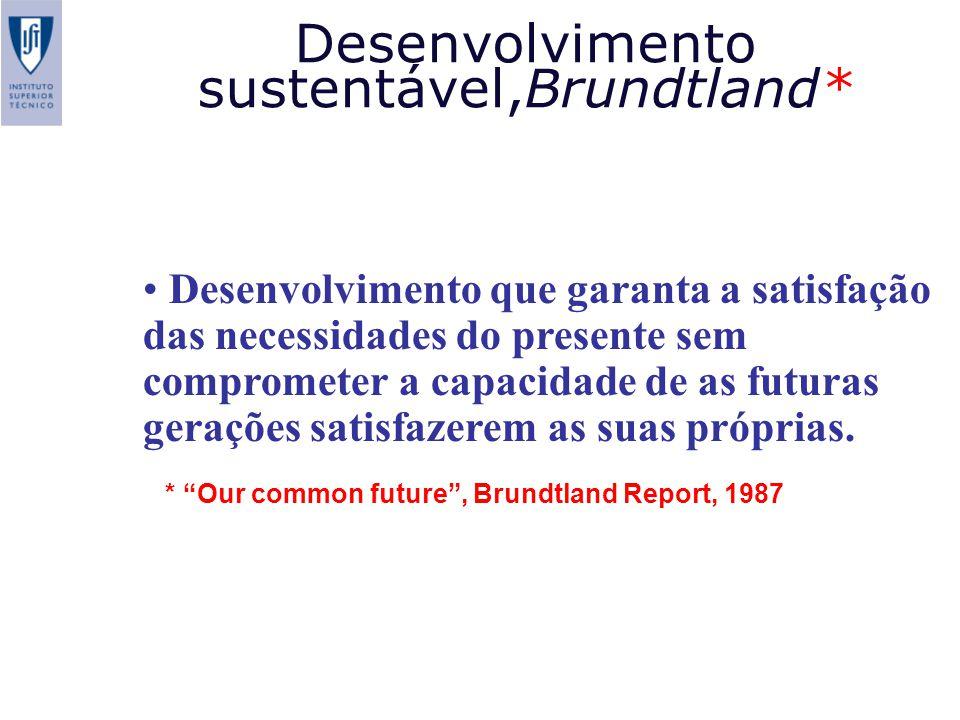 Desenvolvimento que garanta a satisfação das necessidades do presente sem comprometer a capacidade de as futuras gerações satisfazerem as suas próprias.