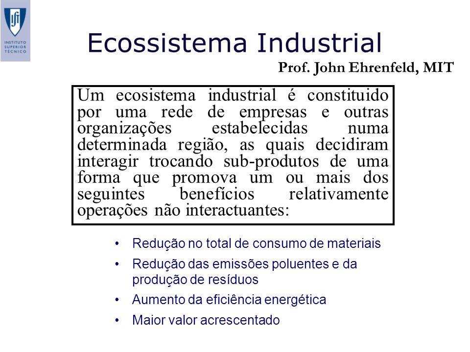 Ecossistema Industrial Um ecosistema industrial é constituido por uma rede de empresas e outras organizações estabelecidas numa determinada região, as