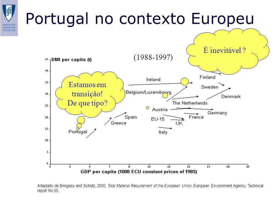 Portugal no contexto Europeu Adaptado de Bringezu and Schütz, 2000, Total Material Requirement of the European Union, European Environment Agency, Technical report No 55.