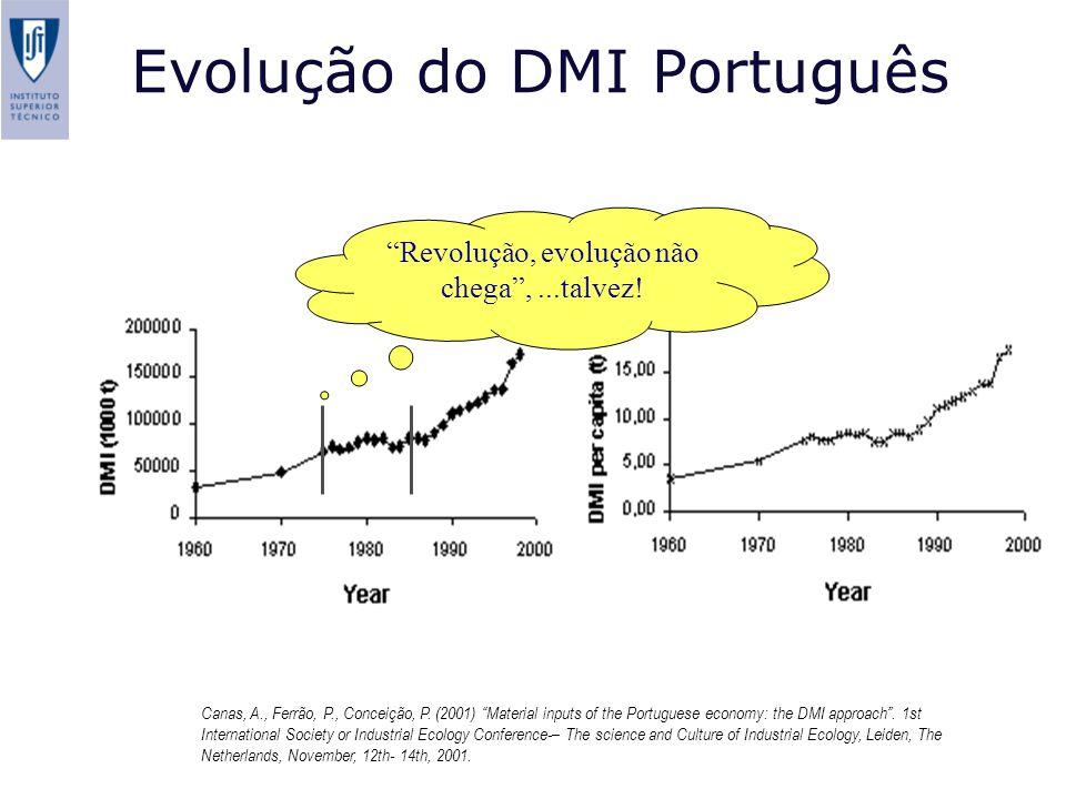 Evolução do DMI Português Fonte Revolução, evolução não chega,...talvez! Canas, A., Ferrão, P., Conceição, P. (2001) Material inputs of the Portuguese