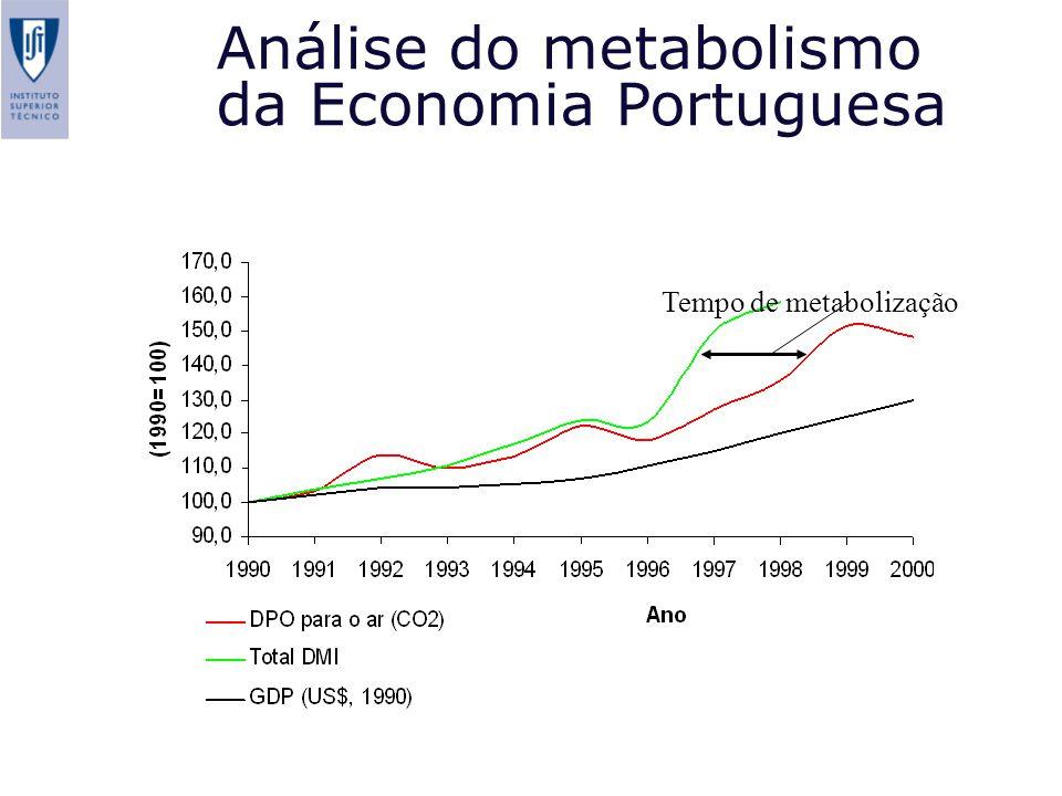 Análise do metabolismo da Economia Portuguesa Tempo de metabolização