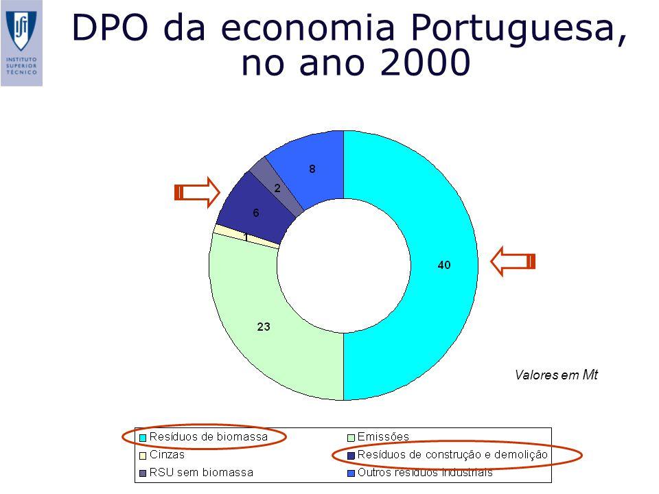 DPO da economia Portuguesa, no ano 2000 S. Niza and P. Ferrão (2004) Metabolism of a transitional economy: The Portuguese case study. Paper submitted