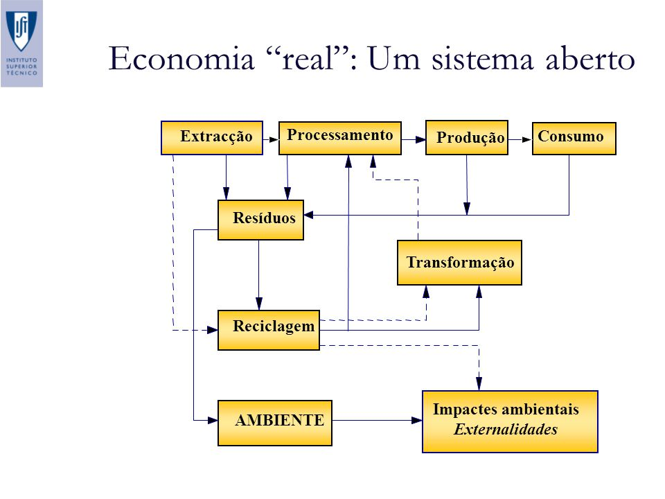 Economia real: Um sistema aberto Extracção Resíduos Consumo Produção Processamento Reciclagem Transformação AMBIENTE Impactes ambientais Externalidade