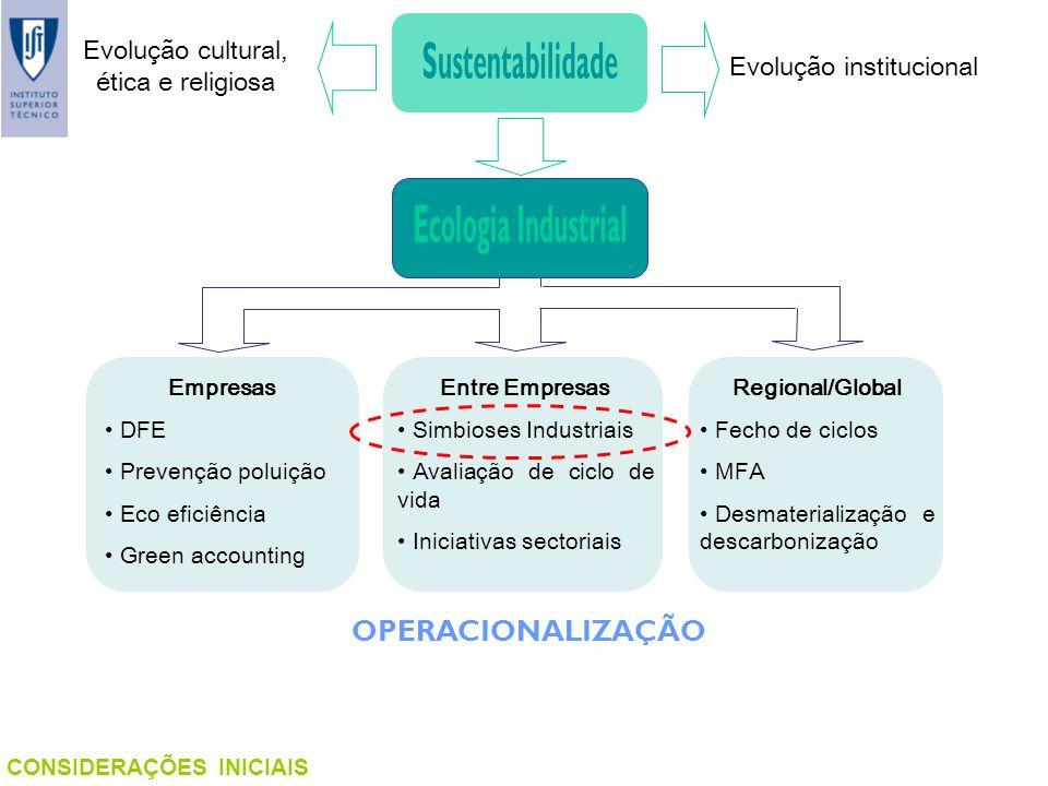 CONSIDERAÇÕES INICIAIS Empresas DFE Prevenção poluição Eco eficiência Green accounting Entre Empresas Simbioses Industriais Avaliação de ciclo de vida